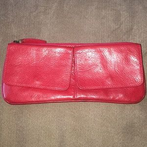 Eileen West Red Leather Wallet Clutch